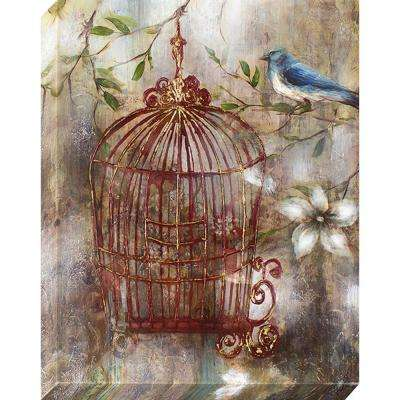 28 in. x 22 in. Charming Birdcage Oil Painted Canvas Wall Art