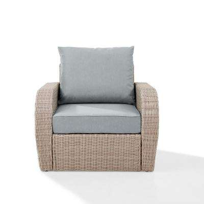 St Augustine Outdoor Wicker Patio Lounge Chair With Mist Cushion