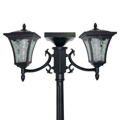 Sun-Ray Vittoria 2-Light Black Integrated LED Outdoor Solar Lamp Post and Dual Planter