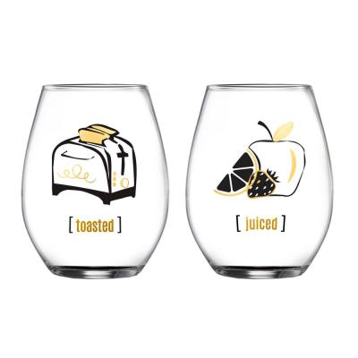 18.3 fl. oz. Toasted and Juiced Stemless Wine Glasses (2-Pack)