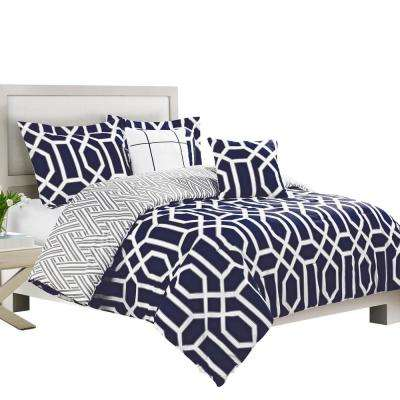 Runa Navy, Gray and White Full and Queen 5-Piece Reversible Comforter Set