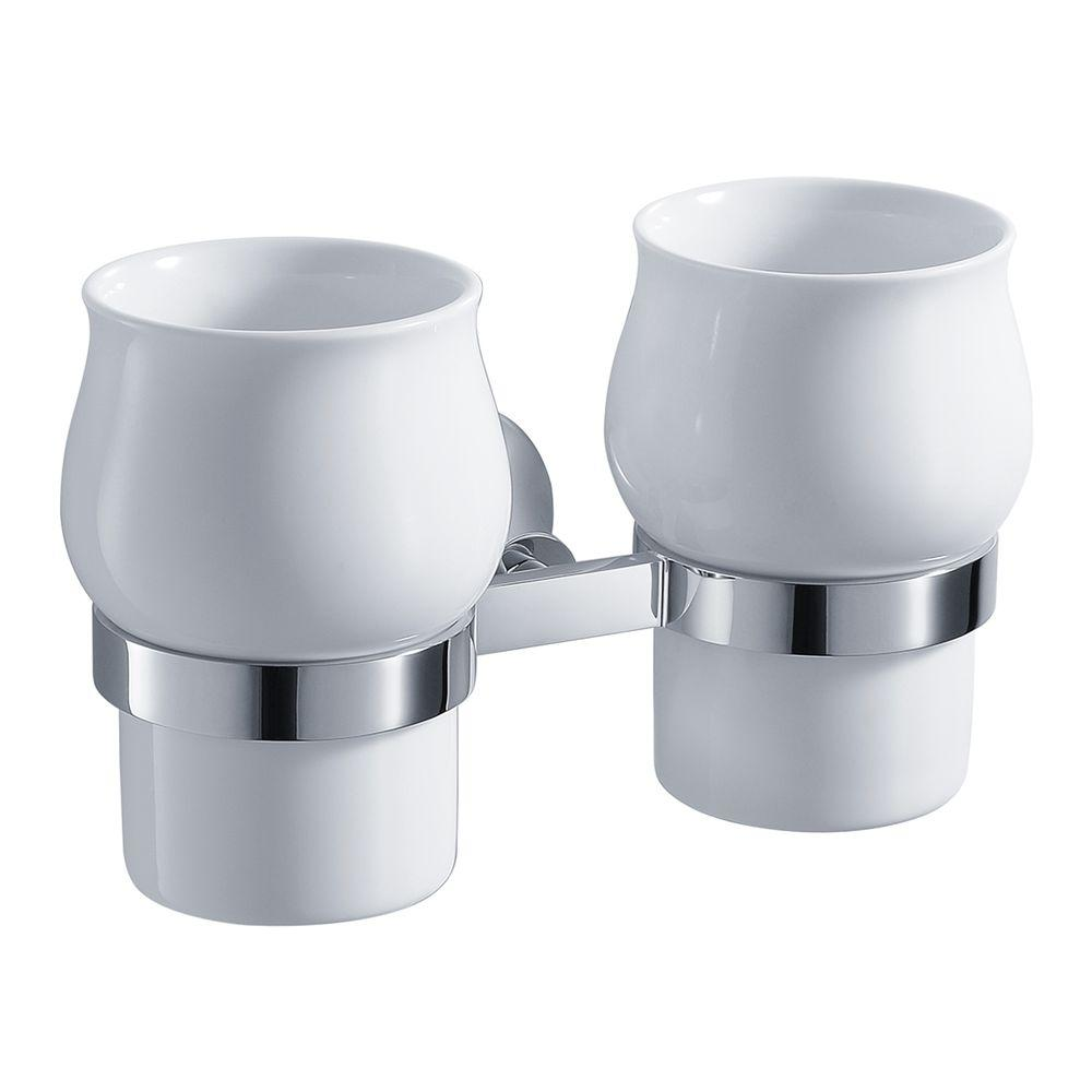KRAUS Amnis Wall-mounted Ceramic Double Tumbler Holder in Chrome-DISCONTINUED