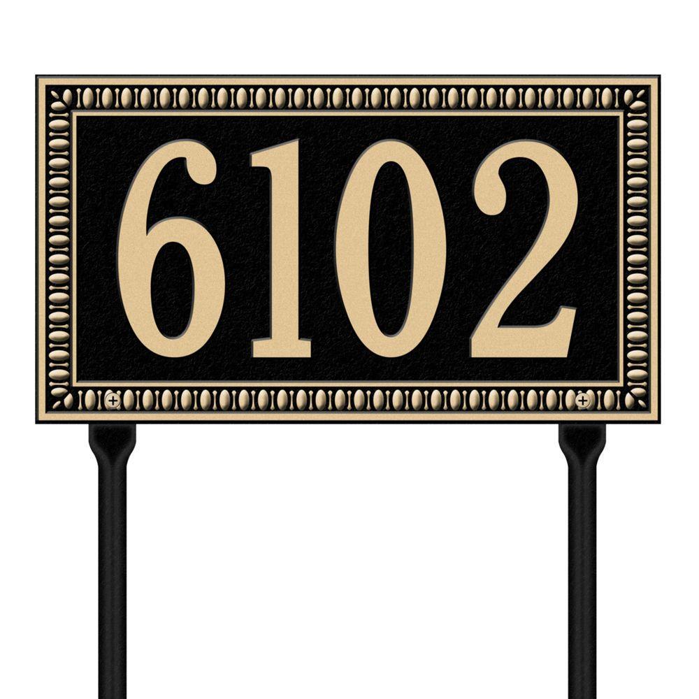 Egg and Dart Rectangular Black/Gold Standard Lawn One Line Address Plaque