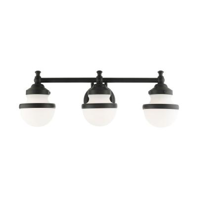 Oldwick 5.125 in. 3-Light Black Vanity Light with Satin Opal White Shades