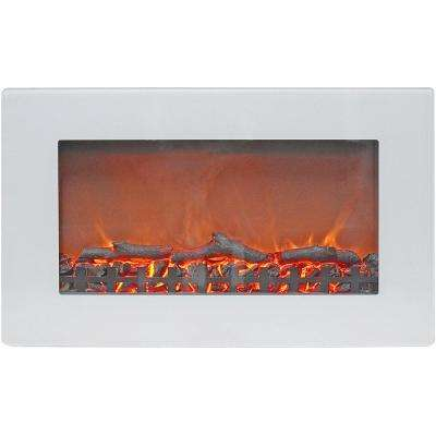 Callisto 30 in. Wall-Mount Electric Fireplace in White with Realistic Log Display
