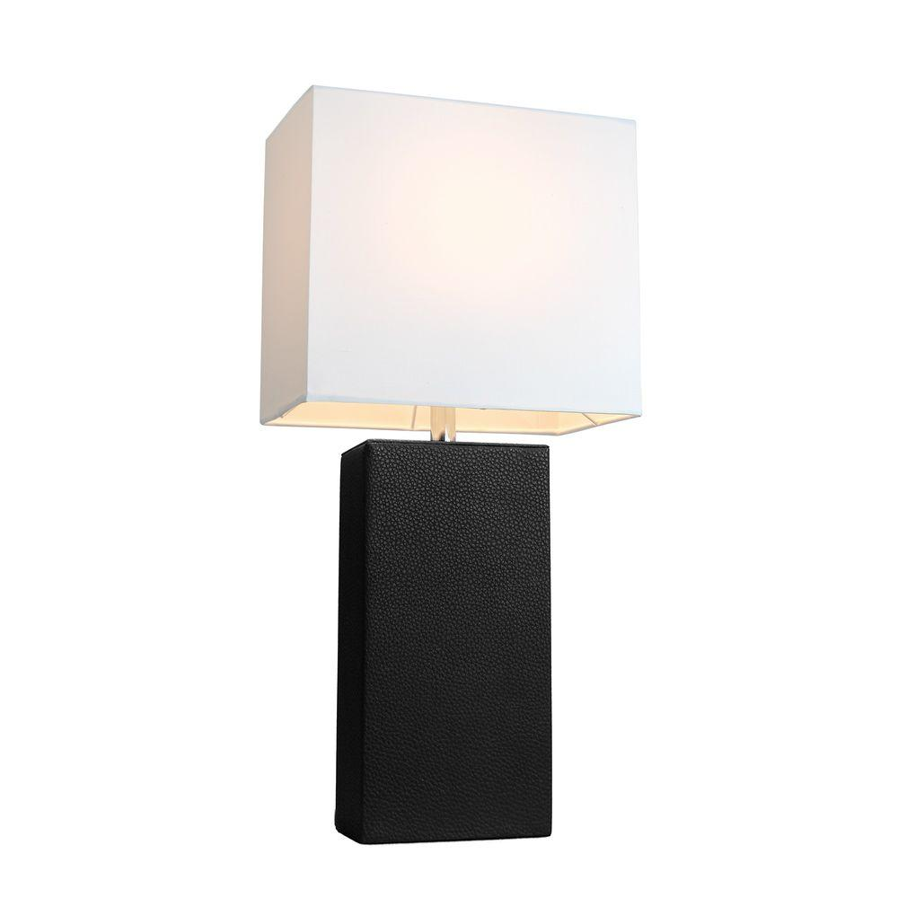 Modern black leather table lamp with white fabric shade