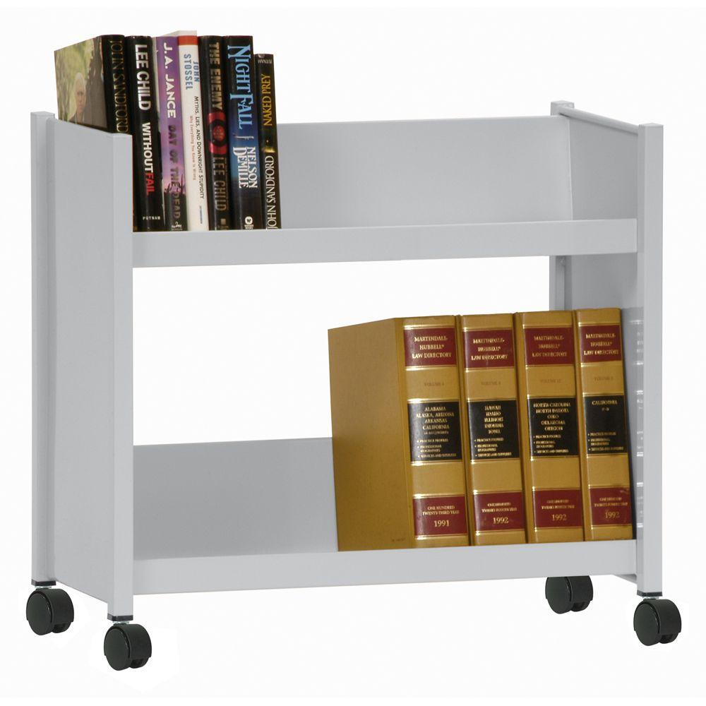 2-Sloped Shelf Welded Booktruck in Dove Gray