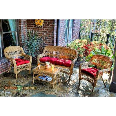 Portside Amber 4-Piece Wicker Patio Seating Set with Lipstick Red Cushions