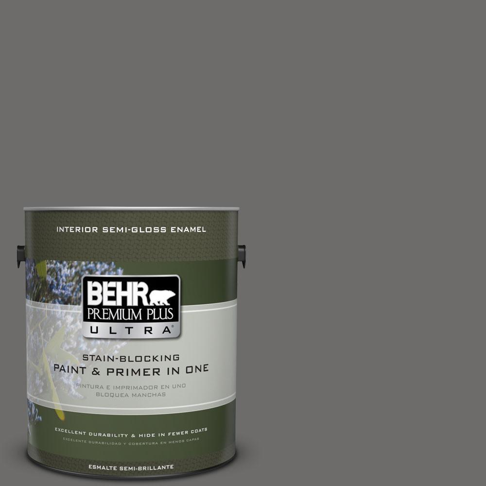 BEHR Premium Plus Ultra 1-gal. #780F-6 Dark Granite Semi-Gloss Enamel Interior Paint