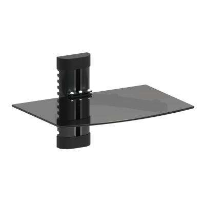 Adjustable Single DVD Player Shelf Wall Mount with Tempered Glass