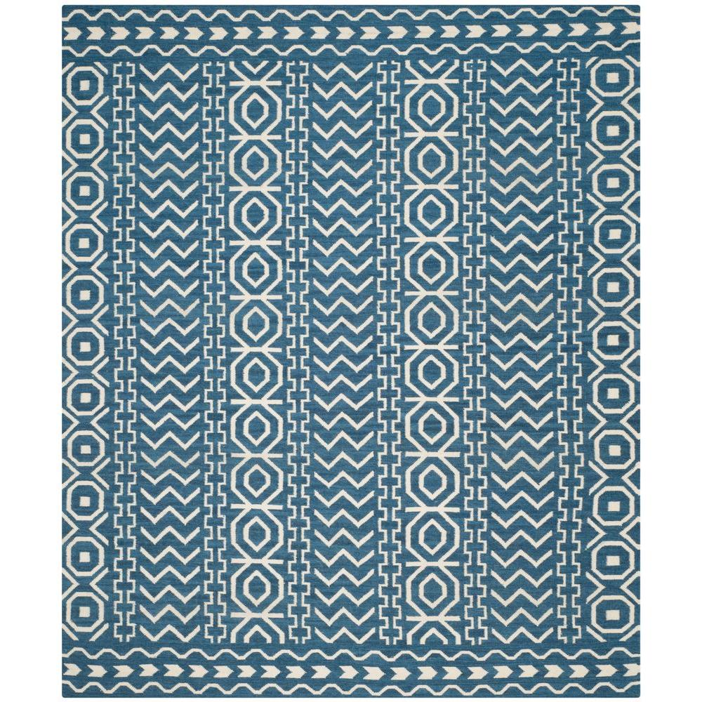 Dhurries Dark Blue/Ivory 8 ft. x 10 ft. Area Rug