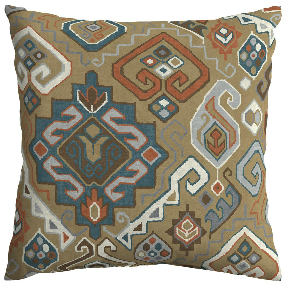 Hampton bay southwest toffee square outdoor throw pillow th09546b 9d4 the home depot