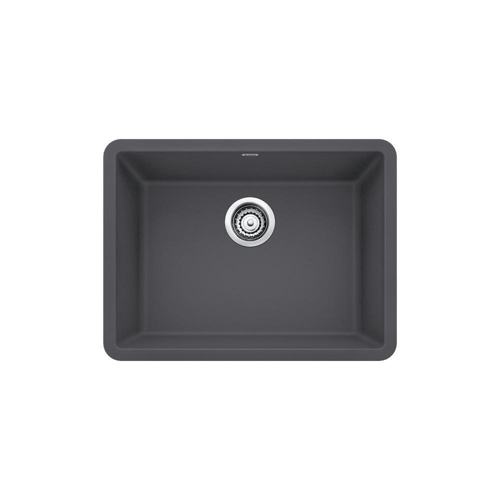 Blanco PRECIS Undermount Granite Composite 24 In Single Bowl Kitchen Sink  In Cinder Blanco Cinder Sink H40