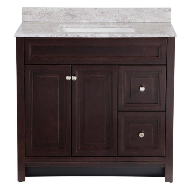 Brinkhill 37 in. W x 22 in. D Bathroom Vanity in Chocolate with Stone Effect Vanity Top in Winter Mist with White Sink