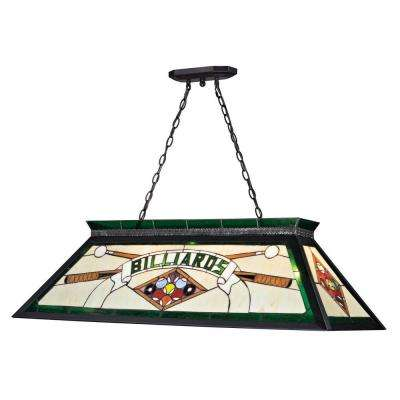 Play 4-Light Green and Black Classic Billiard Light with Multi Colored Tiffany Glass Shade