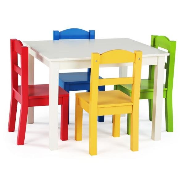 Tot Tutors Summit 5-Piece White/Primary Kids Table and Chair Set
