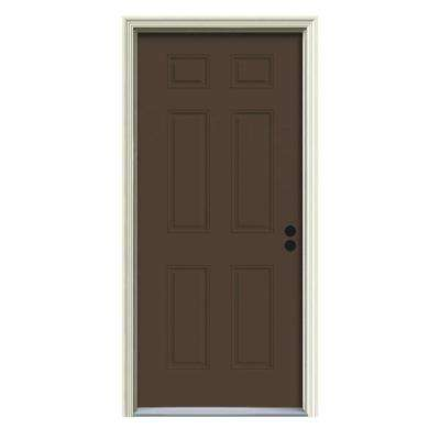 34 in. x 80 in. 6-Panel Dark Chocolate Painted Steel Prehung Left-Hand Inswing Front Door w/Brickmould