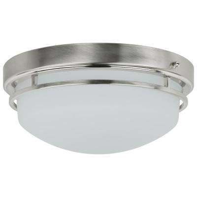 Double Band 150-Watt Brushed Nickel Integrated LED Ceiling Flush Mount