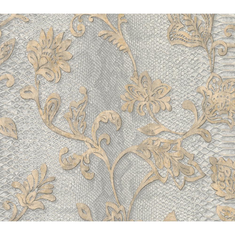Puglia Light Grey Python Arabesque Wallpaper