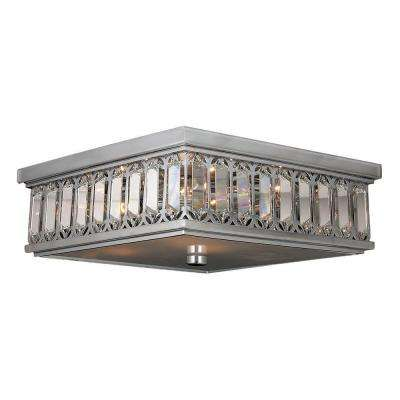 Athens 6-Light Chrome Flushmount with Clear Crystal