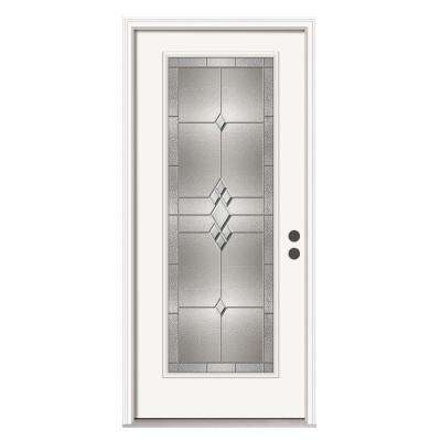 Kingston Full Lite Primed White Steel Prehung Front Door with Brickmold