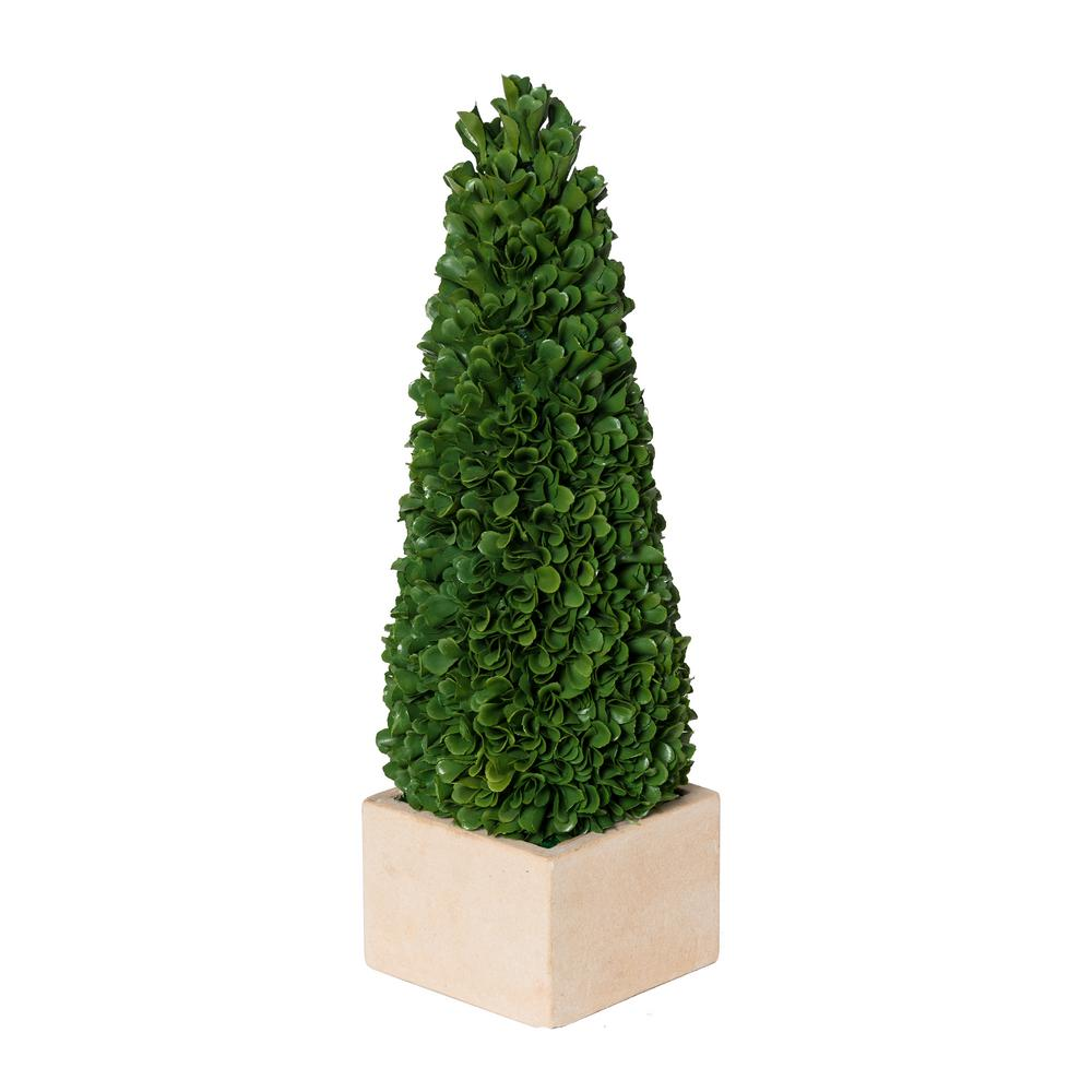 A B Home Green Cream Small Faux Boxwood Potted Topiary Tree 2374