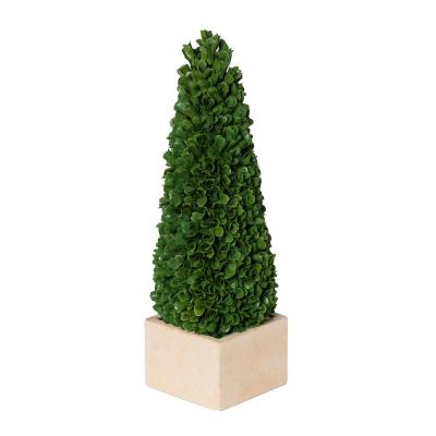 Green/Cream Small Faux Boxwood Potted Topiary Tree