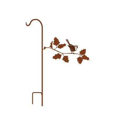 50 in. Tall Yellowish Brown Rust Steel Shepherd's Hook with Chickadee on Fall Branch
