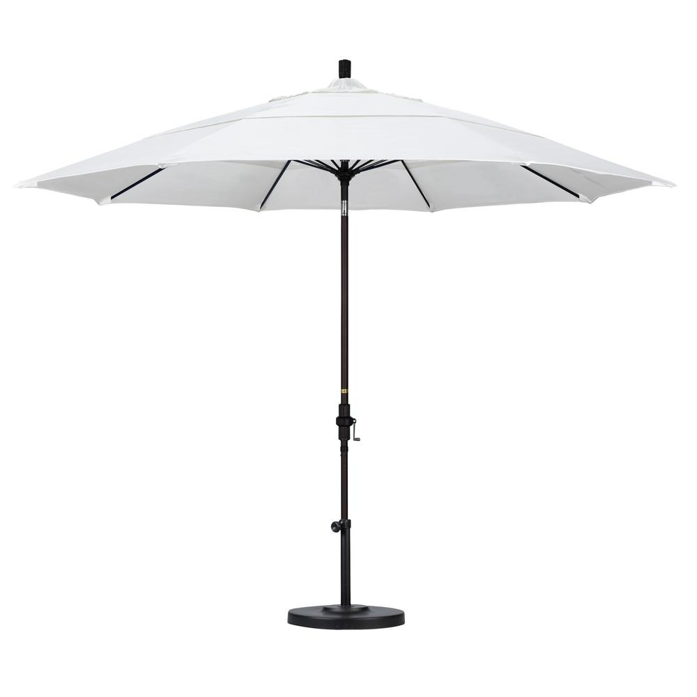 11 ft. Fiberglass Collar Tilt Double Vented Patio Umbrella in Natural