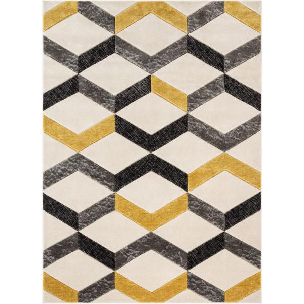 Well Woven Good Vibes Millie Gold Transitional Geometric Zigzag 3 Ft 11 In X 5 Ft 3 In High Low Area Rug Gv 11 4 The Home Depot