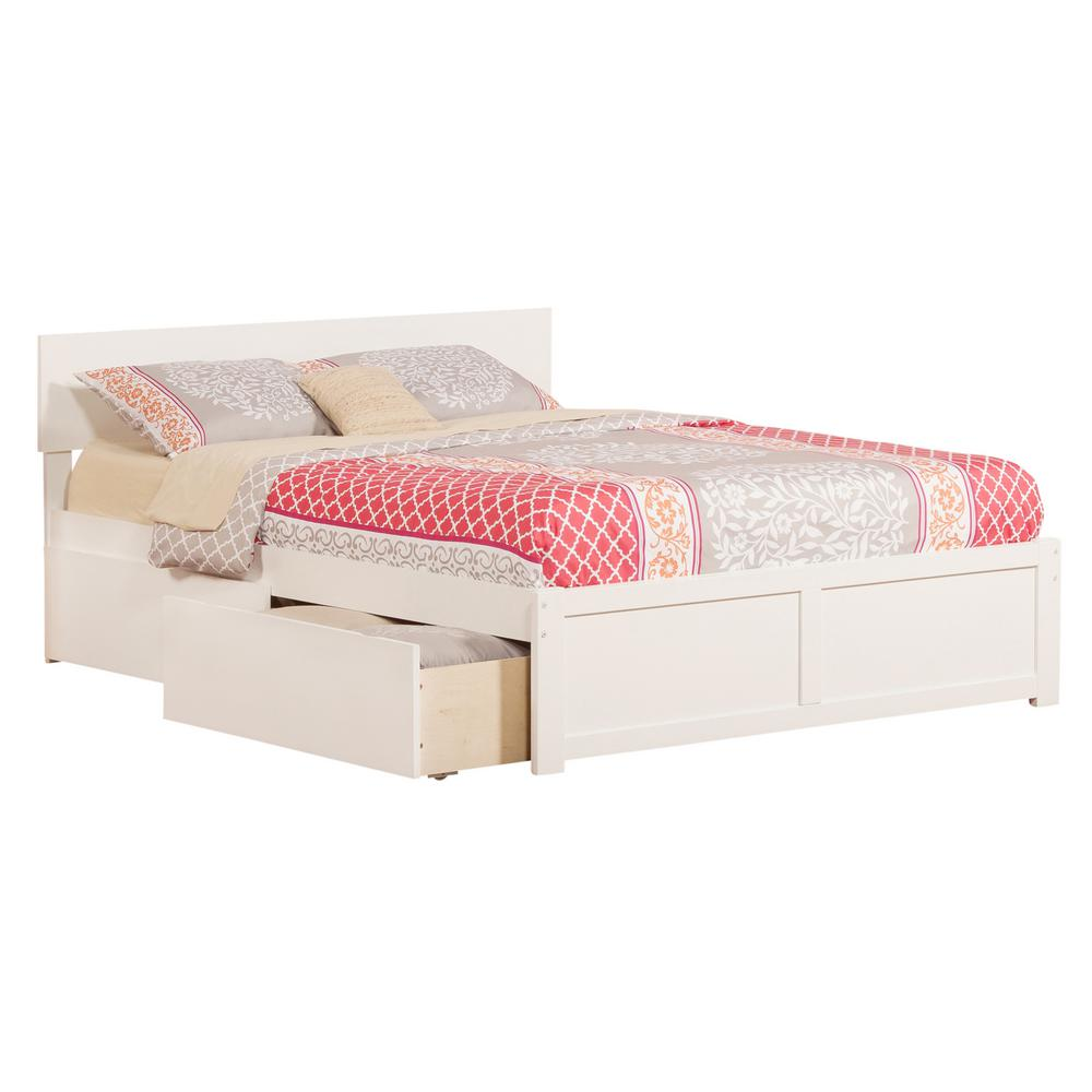 Atlantic Furniture Orlando White Queen Platform Bed with ...