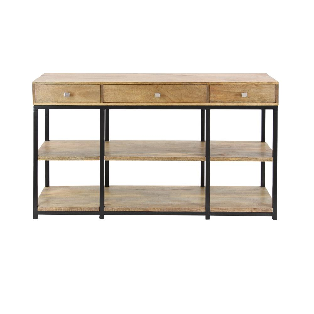 Natural Brown Mango Wood Storage Console Table