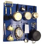 Wall Control Kitchen Pegboard 32 in. x 32 in. Metal Peg Board Pantry Organizer Kitchen Pot Rack with Blue Pegboard and Blue Peg Hooks