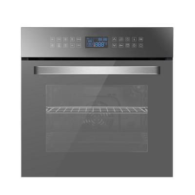 24 in. Single Electric Wall Oven with Convection Fan in Silver Glass