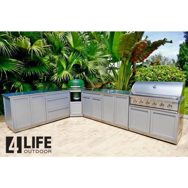 4 Life Outdoor Stainless Steel Assembled 32x35x24 In Outdoor Kitchen Base Cabinet With 2 Full Height Doors In Gray G40001 The Home Depot