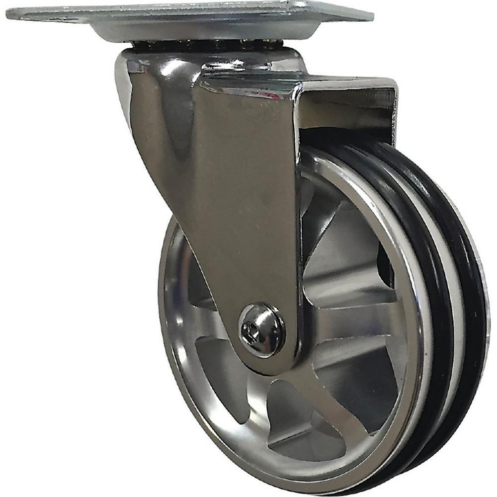 "Set 8 3/"" Caster Wheels Swivel Plate Total Lock Brake Black Polyurethane"