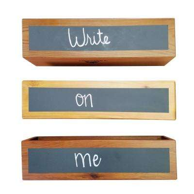 4 in. x 4 in. x 16 in. Succulent Planter Wood Rectangular Planter with Chalkboard Front (3-Package)