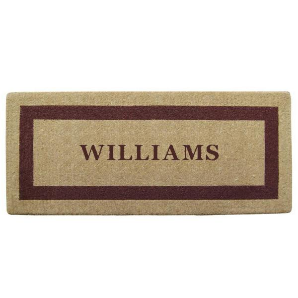 Single Picture Frame Brown 24 in. x 57 in. Heavy Duty Coir Personalized Door Mat