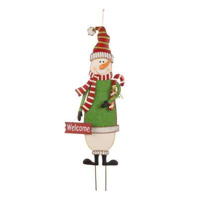 3 ft. Metal Snowman Yard Stake or Standing Decor or Wall Decor (KD, 3-Function)