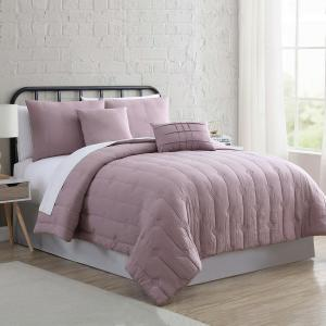 Eldon Thistle 5-Piece Multi-Colored Queen Embroidered Garment-Washed Cotton Blend Comforter Set