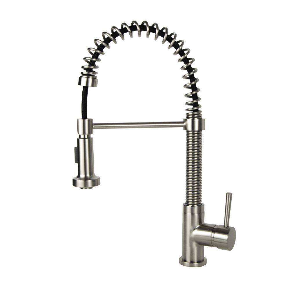 spring coil sprayer p bn pull faucets in nickel down coiled handle faucet brushed kitchen single function multi italia