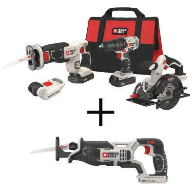 20-Volt MAX Lithium-Ion Cordless Combo Kit (4-Tool) with BONUS 20-Volt MAX Cordless Reciprocating Saw (Tool-Only)