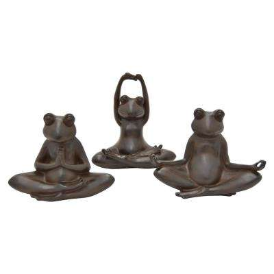 8 in. Bronze Yoga Frog (Set of 3)