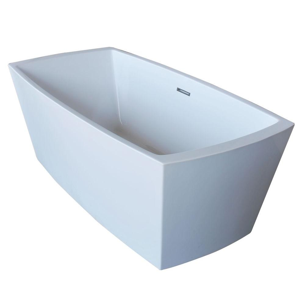 ANZZI Arthur 5.6 Ft. Acrylic Center Drain Freestanding Bathtub In Glossy  White