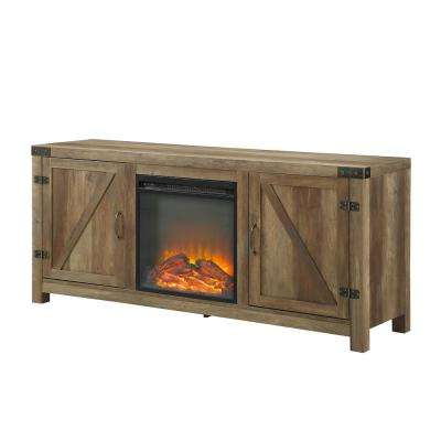 58 in. Rustic Barnwood Modern Farmhouse Barn Door Fireplace TV Stand Storage Console