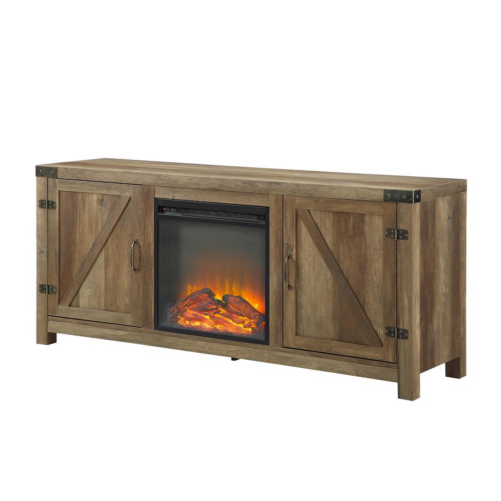Walker Edison Furniture Company 58 In. Rustic Oak Modern Farmhouse Barn Door  Fireplace TV Stand