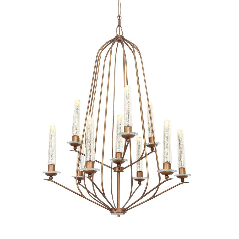 Varaluz Madison 10-Light Hammered Ore Chandelier with Gold Tinted Mercury Glass