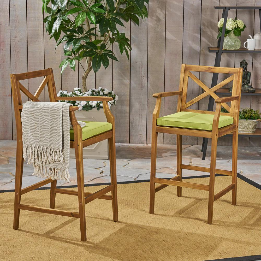 Outstanding Noble House Perla Teak Brown Wood Outdoor Bar Stool With Green Cushion 2 Pack Bralicious Painted Fabric Chair Ideas Braliciousco