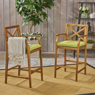 Perla Teak Brown Wood Outdoor Bar Stool with Green Cushion (2-Pack)