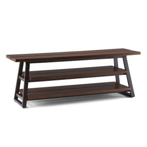 Adler Solid Wood and Metal 66 in. W Modern Low Entertainment TV Stand in Light Walnut Brown for TVs Upto 70 In